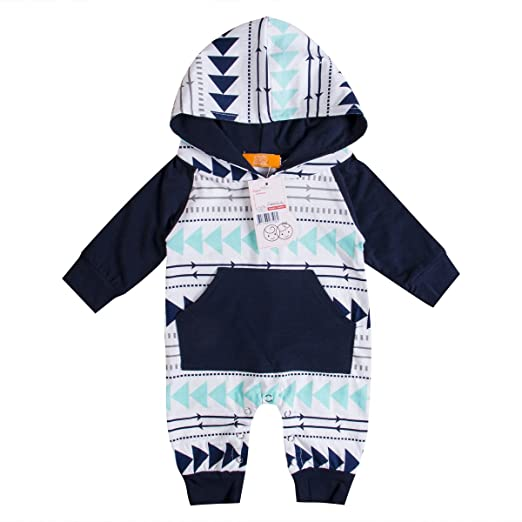 562fddd4e Emmababy Baby Boys Girls Jumpsuit Hoodie Romper Outfit Long Sleeve Creepers  Bodysuit Clothes (0-