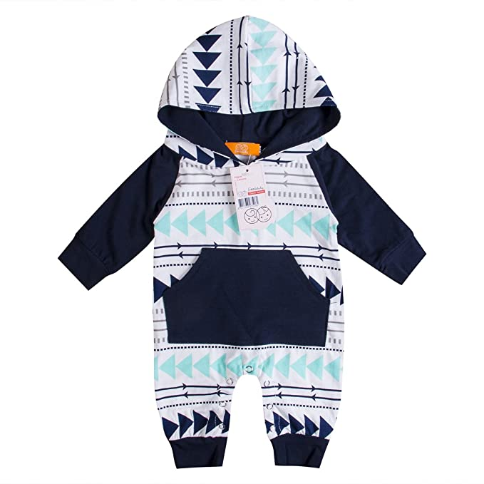 dca317007d47f Emmababy Baby Boys Girls Jumpsuit Hoodie Romper Outfit Long Sleeve Creepers  Bodysuit Clothes