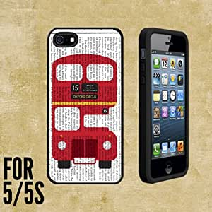 London Red Bus Vector Newspaper Custom made Case/Cover/skin FOR Apple iPhone 5/5S - Black - Rubber Case + FREE SCREEN PROTECTOR ( Ship From CA)