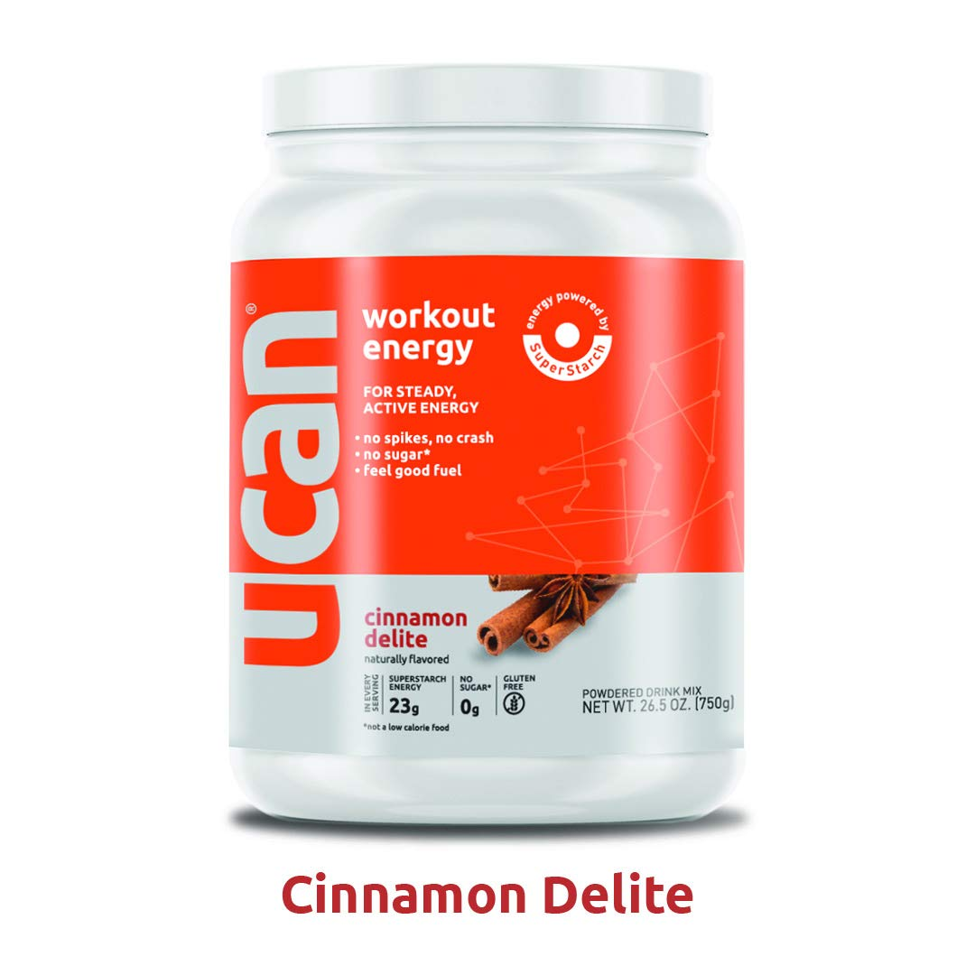 UCAN Workout Energy Powder (Cinnamon, 26.5oz, 30 Servings) - No Added Sugar, Gluten Free, Vegan, Pre- and Post-Workout Drink, Keto Friendly