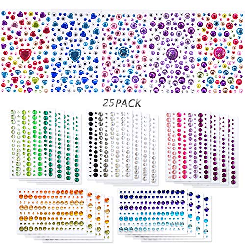 (Lanpu 25 Sheets Self-Adhesive Rhinestones Jewels, Rhinestone Stickers DIY Gem Rhinestone Multi Color Gemstone Embellishments Assorted for Makeup, Festival, Crafts & Embellishments More Than 2800PCS)
