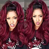 Body Wave Human Hair Lace Front Wigs Ombre Human Hair Wig #1b/red Glueless Full Lace Front Wigs with Baby Hair for Black Women