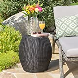 Channing Outdoor Wicker 14.00 Barrell Side Table (Grey)