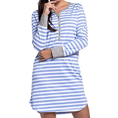 5abad6f6a8 HimTak Long Sleeve Nursing Nightdress for Women Striped Printed Button  Maternity Dress for Pregnancy Breastfeeding(