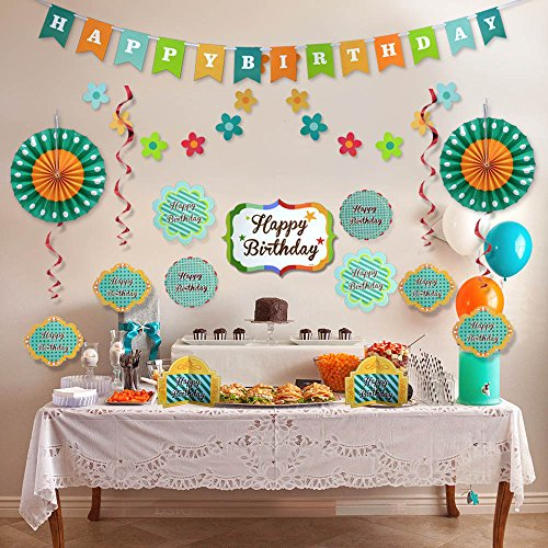 Birthday Party Kit - Green Happy Birthday Party Decorations - Supplies Set for Boy & Girl Kids - Adult Women & Men - Includes Happy Birthday Banner with White Letters, Garlands, Paper Fans, Centerpieces, Wall Cutouts