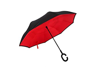 paraguas invertido con mecanismo de apertura inversa paraguas doble capa, sombrillas inverso C mango de