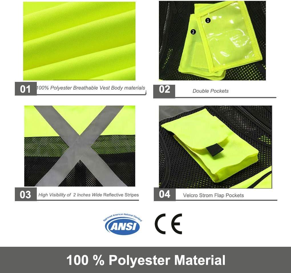 9 Pockets Reflective Vest for Men /& Women Small, Orange-01 ANSI//ISEA Standards Uninova Safety Vest High Visibility