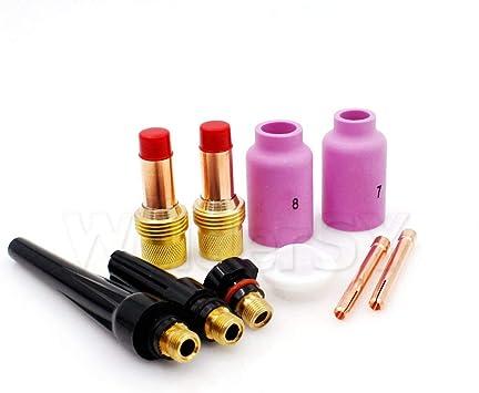 ApplianPar Set of 46 TIG Gas Lens Collet Body Assorted Size Alumina Nozzle Back Cap Gasket Kit for SR WP 9 20 25 TIG Welding Torch
