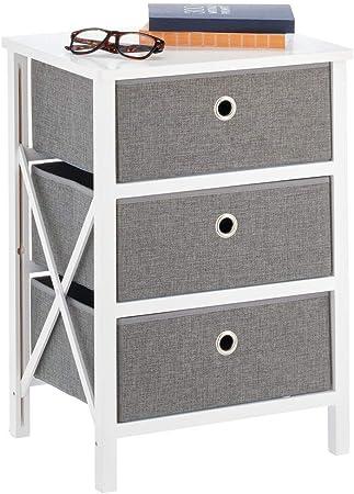 bianco e grigio mDesign Mobiletto pieghevole con 2 cassetti per casalinghi e abbigliamento camera da letto e soggiorno Cassettiera piccola per corridoio Pratico comodino in legno e tessuto