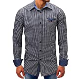 Men's Shirts ,Clearance Sale -Farjing Men Lattice Denim Long-SleeveTee Shirt Top Beefy Button Basic Solid Blouse (M,Black)