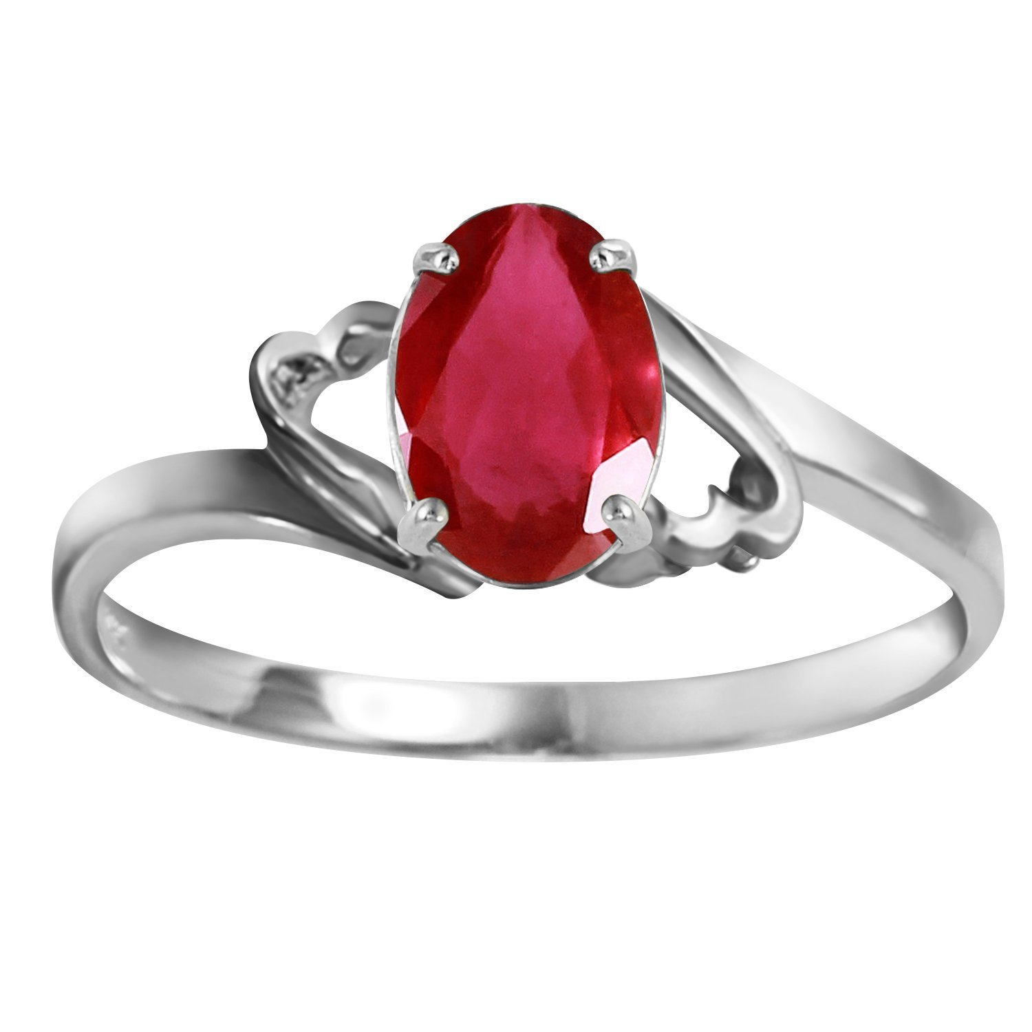 1.15 Carat 14k Solid White Gold Ring with Natural Oval-Shaped Ruby - Size 10