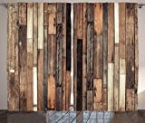 Ambesonne Wooden Curtains 2 Panel Set by, Brown Old Hardwood Floor Plank Grunge Lodge Garage Loft Natural Rural Graphic Artsy Print, Living Room Bedroom Decor, 108 W X 90 L Inches, Brown