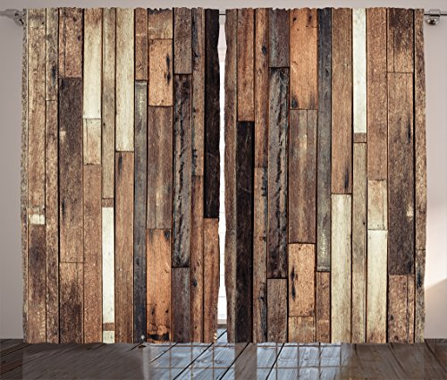 Ambesonne Wooden Curtains 2 Panel Set, Brown Old Hardwood Floor Plank Grunge Lodge Garage Loft Natural Rural Graphic Artsy Print, Living Room Bedroom Decor, 108 W X 90 L Inches, Brown (Wood Garage)