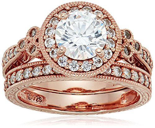 Rose-Gold-Plated Sterling Silver Antique Rings set made with Swarovski Zirconia, Size 6 (Rose Gold Wedding Band With Platinum Engagement Ring)