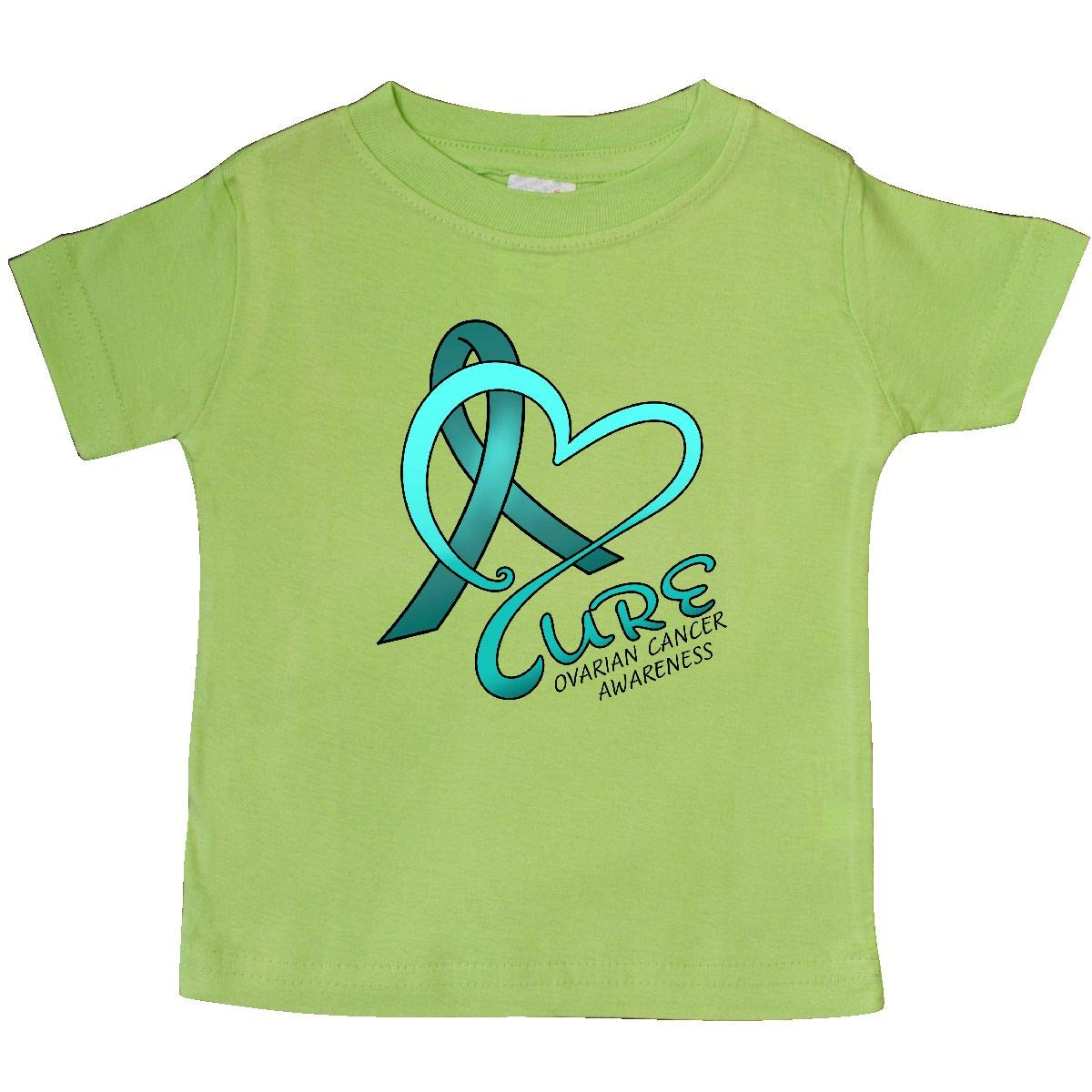 Ovarian Cancer Awareness Teal Ribbon Baby T-Shirt inktastic Cure