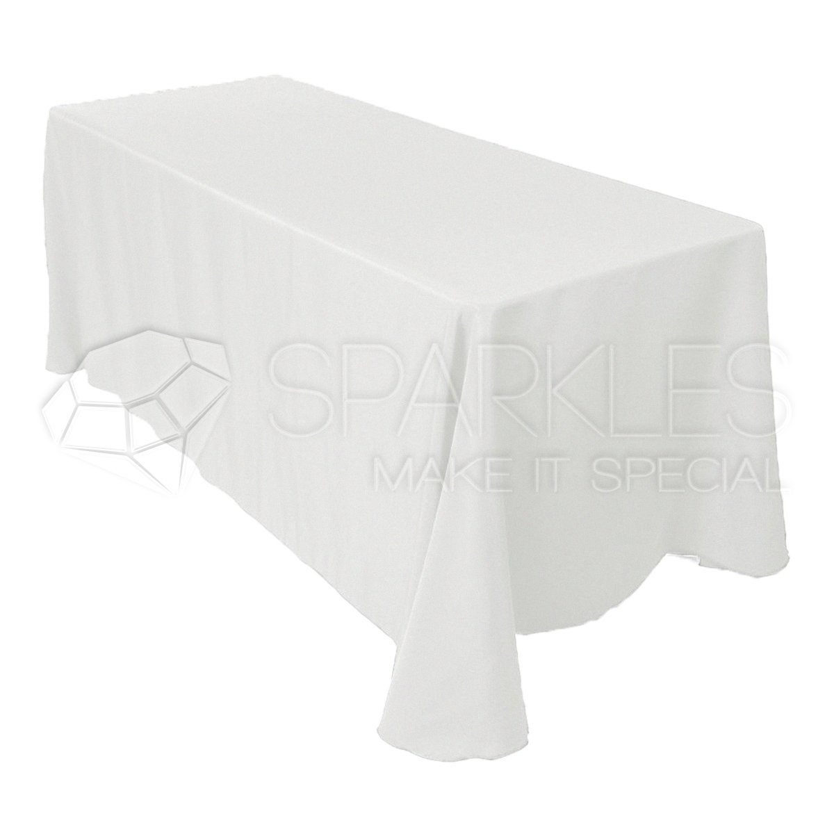 Sparkles Make It Special 10-pcs 90'' x 132'' Inch Rectangular Polyester Cloth Fabric Linen Tablecloth - Wedding Reception Restaurant Banquet Party - Machine Washable - Choice of Color - White