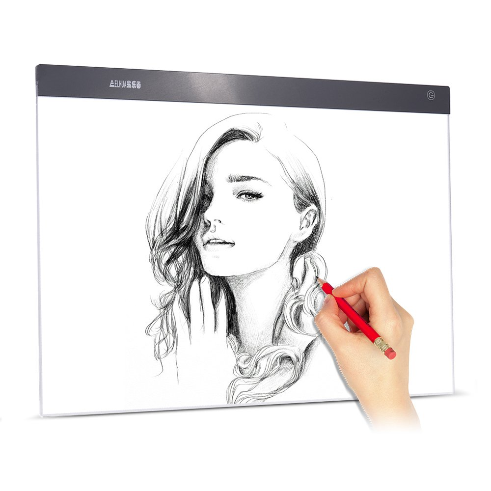 Aibecy A2 Large Ultra-Thin LED Light Pad Box Painting Tracing Panel Copyboard Stepless Adjustable Brightness USB Powered for Cartoon Tattoo Tracing Pencil Drawing X-Ray Viewing by Aibecy