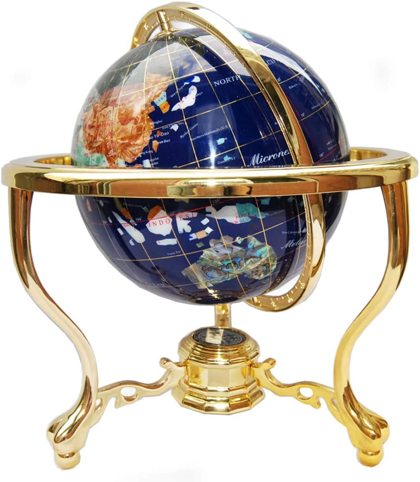 """Unique Art Since 1996 14"""" Blue Lapis Gemstone Globe with Gold Stand"""