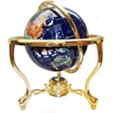 """Unique Art Since 1996 14"""" Tall Blue Lapis Ocean Gemstone Globe with Tripod Gold Stand"""