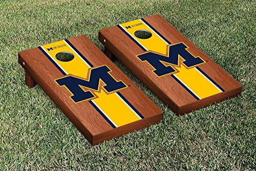 Michigan Wolverines Regulation Cornhole Game Set Rosewood Stained Stripe Version