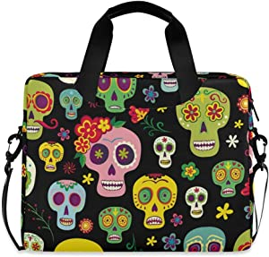 ALAZA Mexican Sugar Skull Day of The Dead Laptop Case Bag Sleeve Portable Crossbody Messenger Briefcase w/Strap Handle, 13 14 15.6 inch