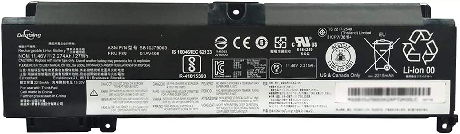 Dentsing 11.46V 27Wh/2274mAh 01AV406 Laptop Battery Compatible with Lenovo ThinkPad T460s T470s Series Notebook 01AV405 01AV408 SB10J79003 SB10J79005