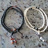 6mm*108 White Ebony Sandalwood Beads Black Ebony Sandalwood Prayer Malas Include 2 Pieces