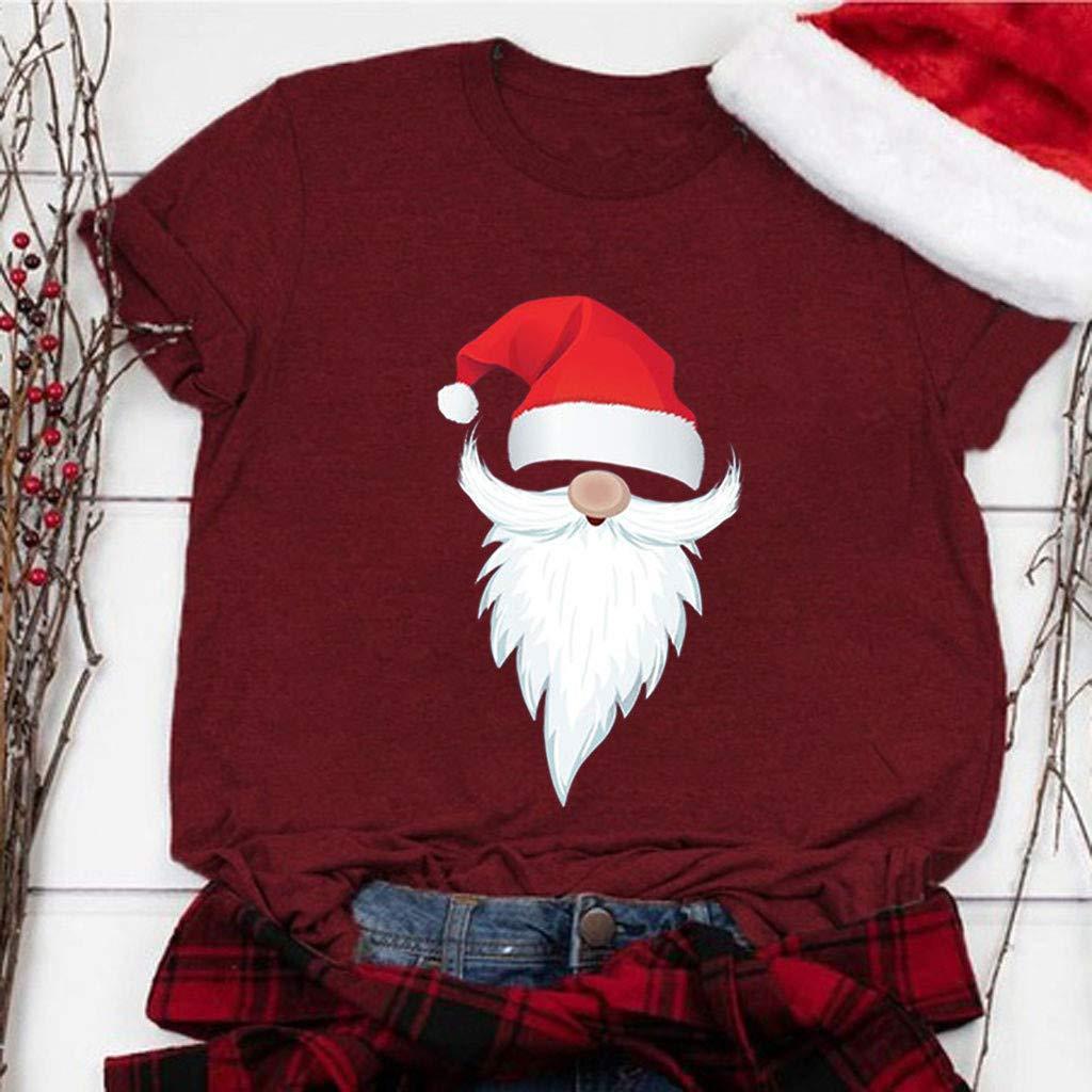 ZODOF camiseta de navidad mujer Moda Estampado de navidad O-cuello Manga corta Casual Linda Camisa de vacaciones playeras de navidad en familia T-Shrit Tops