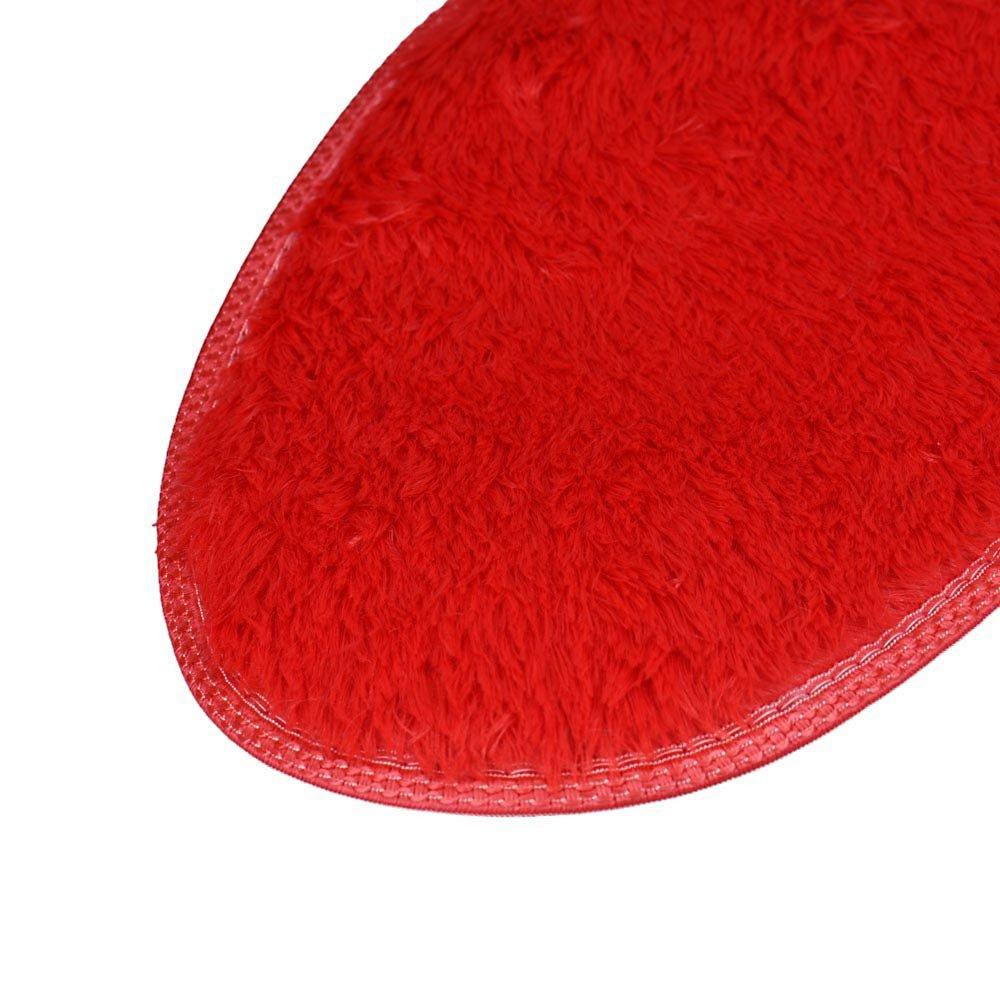 Ruikey Doux Tapis de Toilette de Salle de Bains de Tapis de m/émoire de Cachemire de Corail en Forme de Coeur antid/érapant et Absorbant