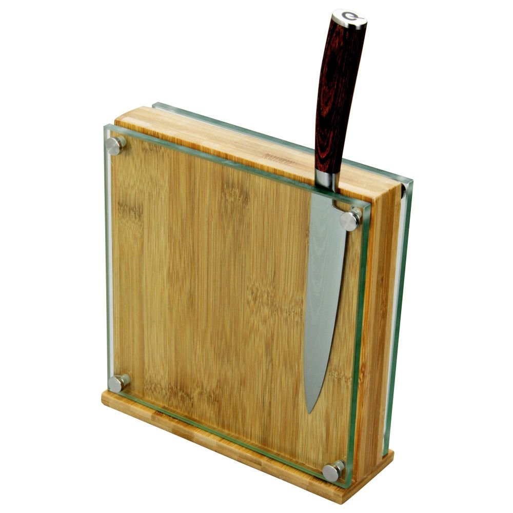 Ceppo Portacoltelli Magnetico, Blocco Portacoltelli in Bambù / Vetro (per 8-10 Coltelli) Finoak