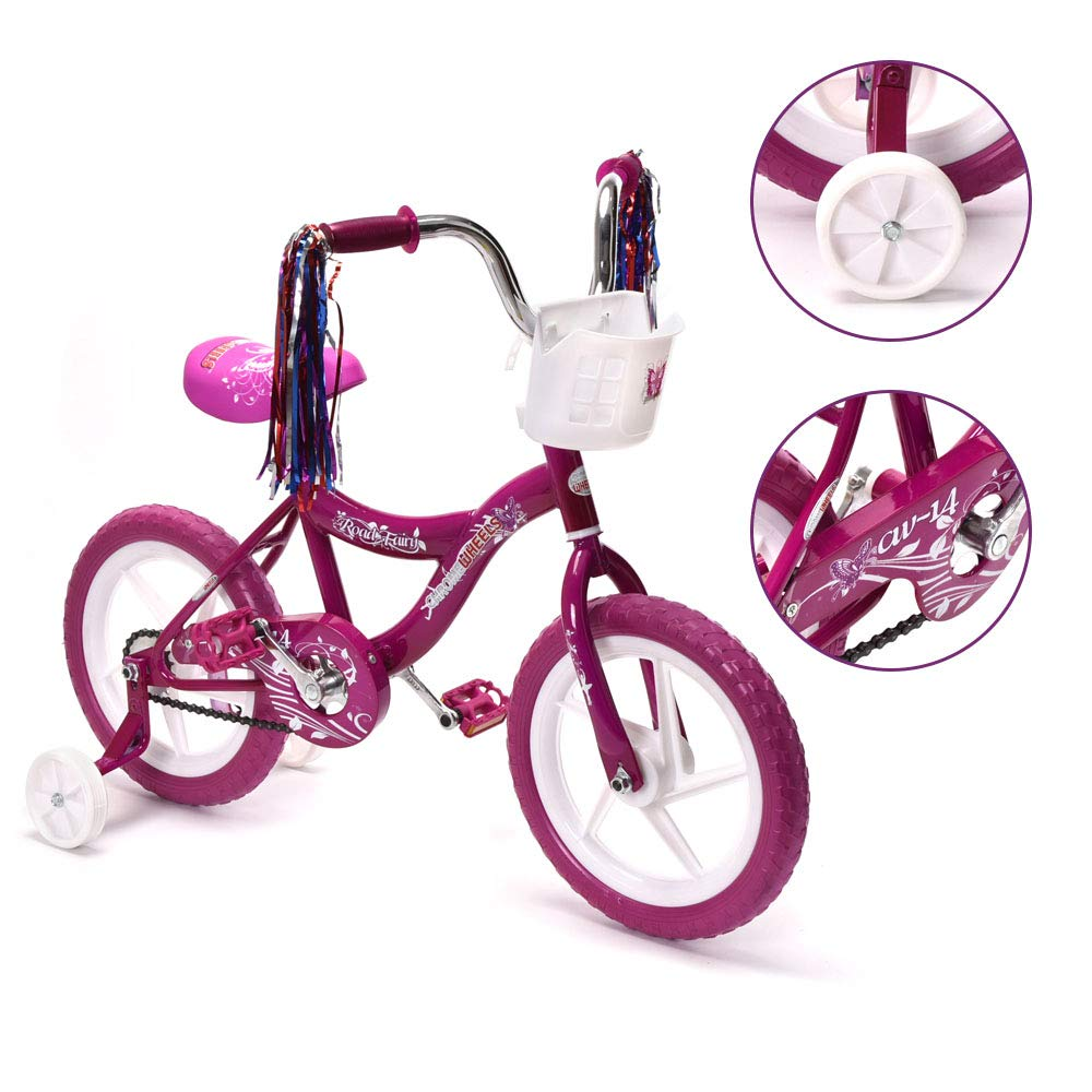 ChromeWheels 14 inch Kid's Bike for 3-5 Years Old, Bicycle for Girls with Basket, EVA Tires with Training Wheels, Purple