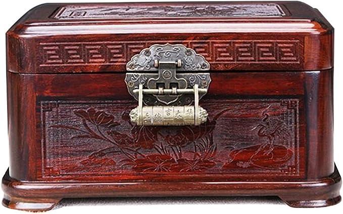 Nfudishpu Joyero Antiguo Joyero de Palisandro Chino Almacén de Joyas Caja Antigua de Madera con Cerradura Exquisito No costoso Organizador de Joyas (Color: Rojo, Tamaño: 22.3 × 14.3 × 12cm): Amazon.es: Deportes