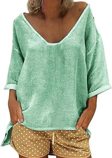 Camisa de algodón Talla Grande para Mujer Blusa túnica Suelto Informal de Manga Larga de 1/2 Camiseta Cuello Pico Verde XL: Amazon.es: Ropa y accesorios
