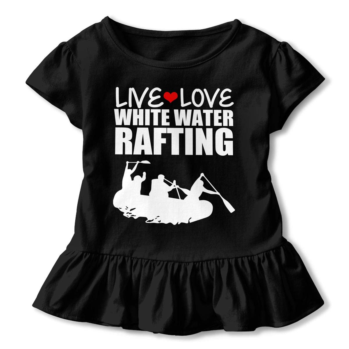 Live Love White Water Rafting Toddler Girls T Shirt Kids Cotton Short Sleeve Ruffle Tee