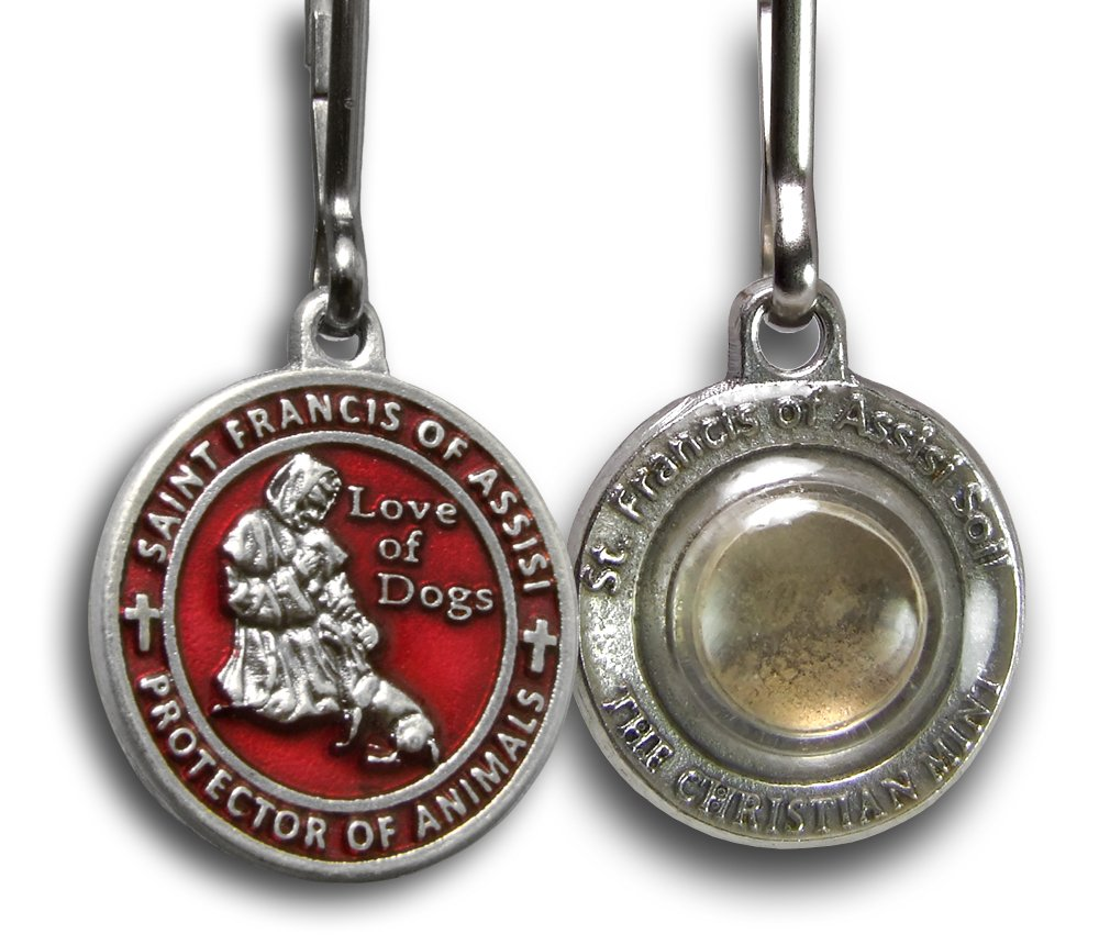 The Christian Mint, LLC St. Francis of Assisi Enameled Pet Medal with Capsule of Assisi Soil (For Smaller Dogs) (Red)