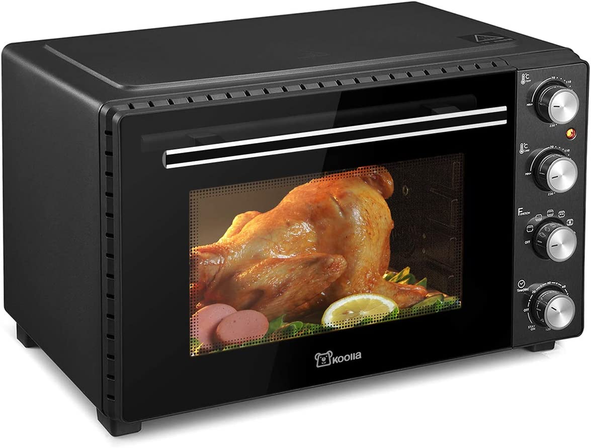 Large Toaster Oven | Countertop Convection Toaster Oven | Electric Oven | 18 Slices, 14'' Pizza, 20lb Turkey | Removable Crumb Tray | Interior Lighting | 3D Recirculation | 1700 Watts (35 Liters, Black)