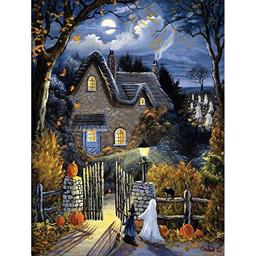 Bits and Pieces - 300 Large Piece Glow in The Dark Puzzle for Adults - Tess's Halloween by Artist Christine Carey - Spooky Trick-Or-Treat - Holiday - 300 pc Jigsaw -