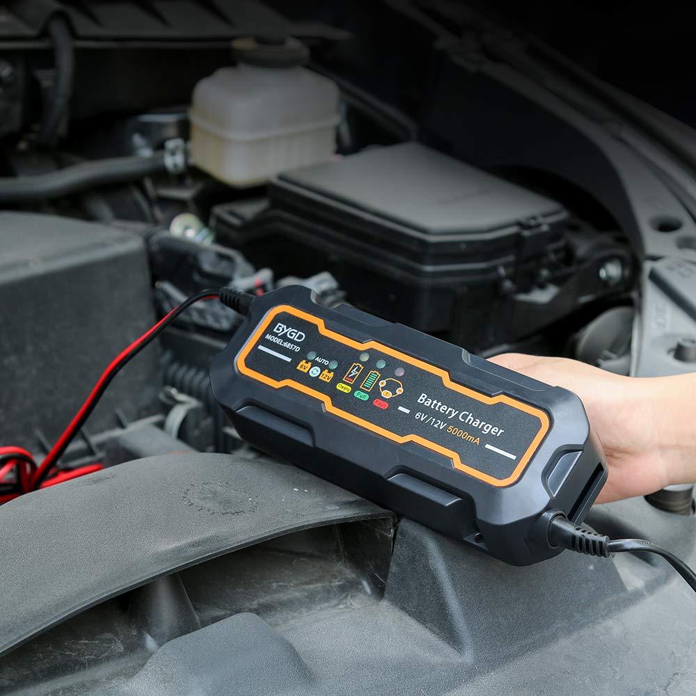 Batterieladeger/ät Intelligentes Auto Batterieladeger/ät Automatisches Batterie Ladeger/ät // Desulfator // Wartungsger/ät 2//4//8 Ampere Batterie Lade- und Testger/ät f/ür 12V Motorrad PKW und LKW