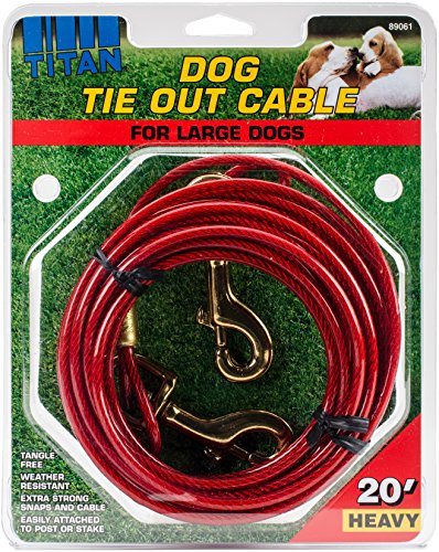 89061 HVY20 Titan Dog Tie Out Cable Red, 20 Ft (Coastal Pet Cable Tie Out)