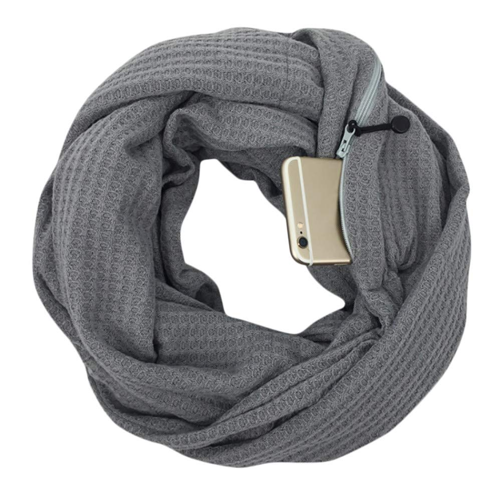 Premium Women Infinity Scarf With Zipper Pocket–Soft Stretchy Fashion Wool Winter Thermal Scarf