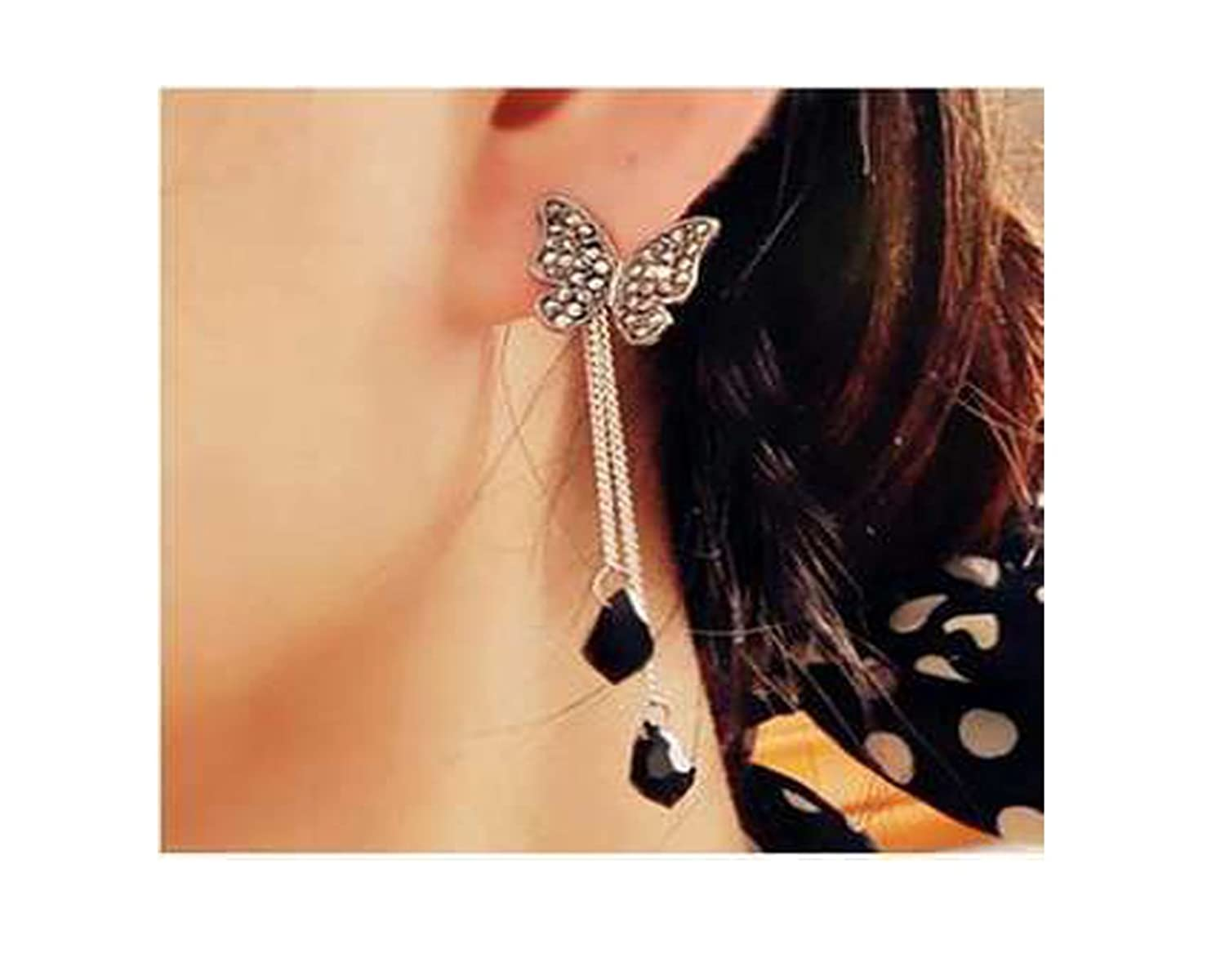 Buy Glitz Black Brass Drop Earrings for Women Online at Low Prices ...