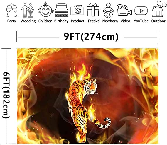 9x16 FT Tiger Vinyl Photography Backdrop,Black Striped Large Cat from Siberia Swimming in The Lake in The Forest Background for Baby Shower Bridal Wedding Studio Photography Pictures