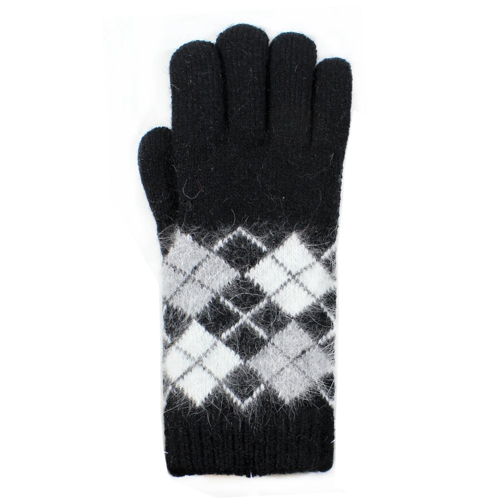 LL- Ladies Warm Winter Knit Fashion Gloves, Angora Blend Fleece Lined- Argyle Pattern, Assorted Colors (Black)