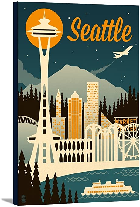 Seattle Washington Retro Skyline 47087 24x36 Gallery Wrapped Stretched Canvas Posters Prints