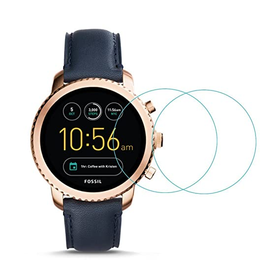 Glass Screen Protector for Fossil Q Explorist Gen 3 - [2 Pack] Full Coverage HD Clear Anti-Bubble Anti-Scratch for Clear Film Tempered Glass Screen ...