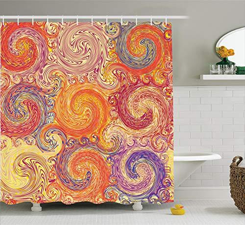 Ambesonne Grunge Shower Curtain, Grunge Swirl Patterns Brush Style Waterpool Waves Nested Colors Boho Marbling Art, Cloth Fabric Bathroom Decor Set with Hooks, 75