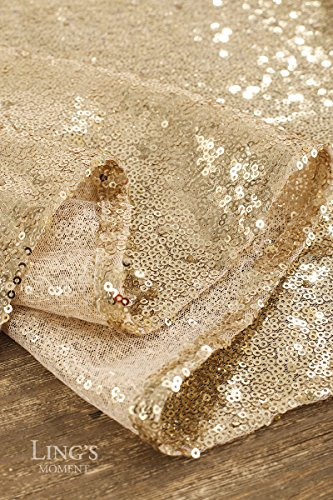 Ling's moment Sparkly Sequin Table Runner Champagne 12 x 108 Inch (Hem Edge) for Thanksgiving Christmas Wedding Engagement Party Bridal Baby Shower Dresser Decorations by Ling's moment (Image #7)