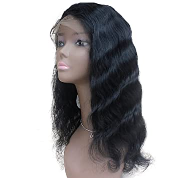Forawme Real Human Hair Full Lace Wigs For Sale 20 Inch Body Wave 130%  Density #1 Jet Black Middle...