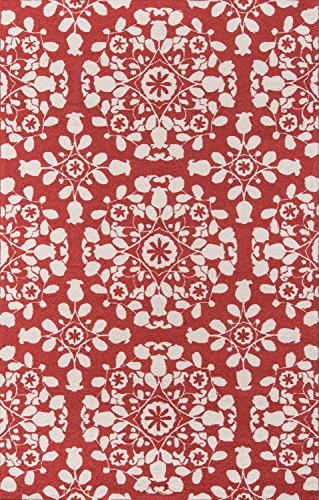 Momeni Rugs Suzani Hooks Collection, 100% Wool Hand Hooked Traditional Area Rug, 2' x 3', Red