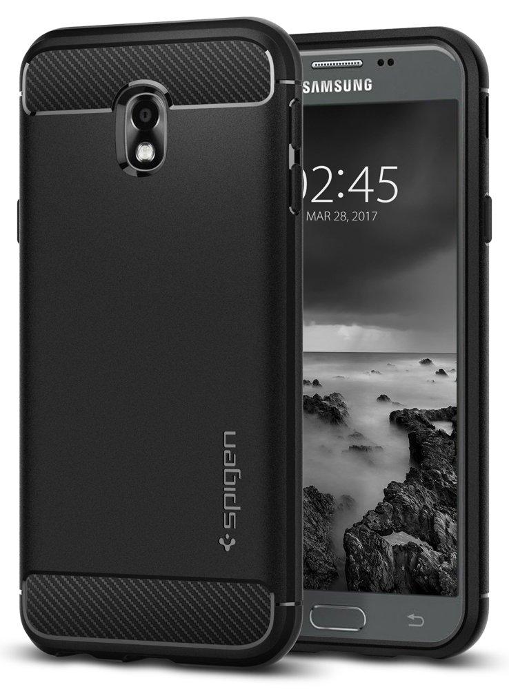Spigen 580CS21499 Rugged Armor für Samsung Galaxy J3 (2017) Duos Hülle Karbon Look Silikon Schutzhülle Case - Schwarz